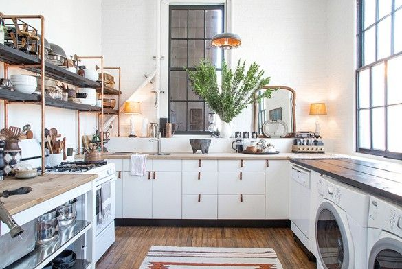 Love the copper framed shelves on the left! How to Renovate Your Rental for Under $100 via @domainehome