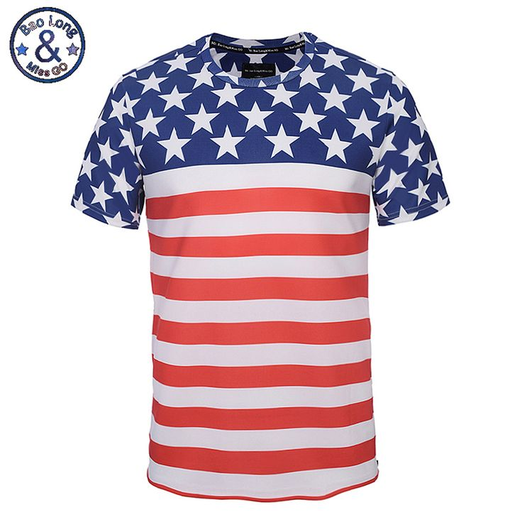 2017 Men T-Shirt Short Sleeve Spring And Summer Slim T Shirt American Flag  Printed T-Shirts With Side Zipper O Neck Casual Tops