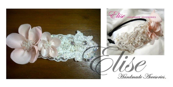 headband peach ciffon in lace beads,,   made by me , thanks for peggy.