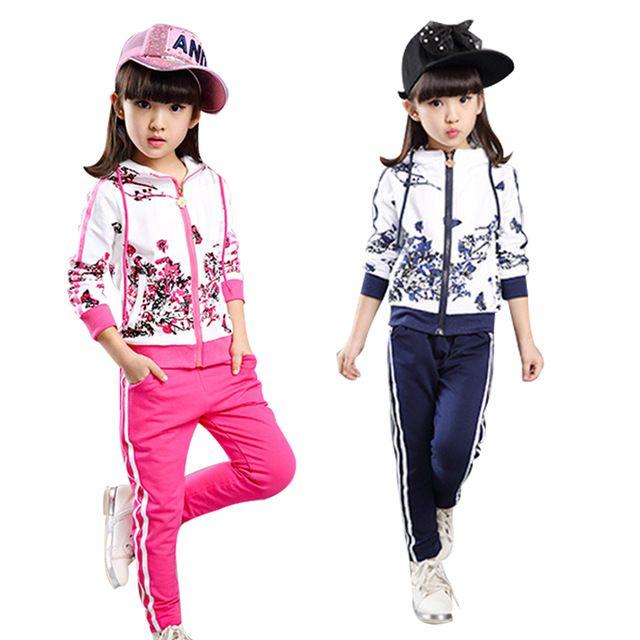 Crianças Fatos de Treino para As Meninas Conjuntos de Roupas Ativos Outono Impressão Crianças Casaco + Calça Terno Dos Esportes Outfits Conjuntos de Roupas Infantis 4 10 T 14