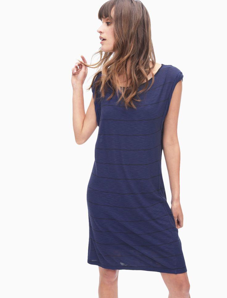 Panama Stripe Twist Sleeve Dress