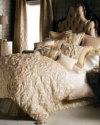 """I love Damask prints. I've never seen it use quite like this before. ---""""Neutral Modern"""" Bed Linens by Dian Austin Couture Home at Horchow."""