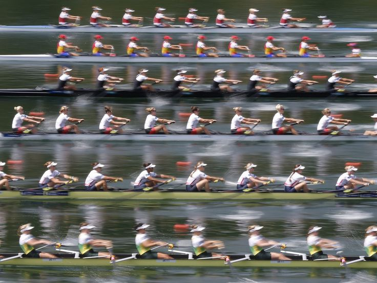 The rowing teams of Australia, Great Britain, Canada, New Zealand, Romania and Netherlands (from below) in action at the start of the Women's Eight A final at the Rowing World Cup in Lucerne, Switzerland.  Peter Klaunzer, Keystone, via EPA