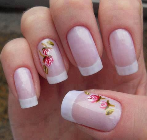 french manicure and little rose nail design - beautyandhairhaven.com