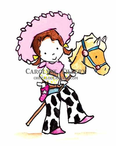 Rootin Tootin Cowgirl in Pink Archival Print by ohhellodear