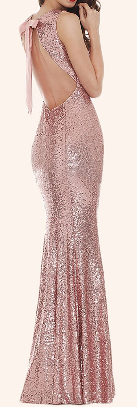 Mermaid Sequin Long Bridesmaid Dress Rose Gold Prom Dress #dress #gown #wedding #formaldress #formalgown #rosegold #weddingparty #prom #prom2017 #promdress #promgown