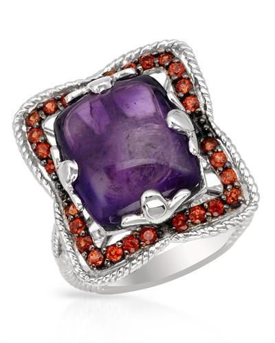 Ring With Amethyst  And Garnets-Size 7