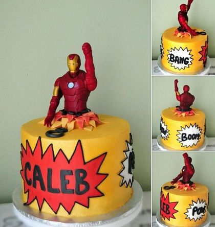 Fabulous Cakes By Tonya - Iron man busting out of a comic book.