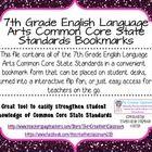 7th Grade ELA Common Core State Standards Bookmarks