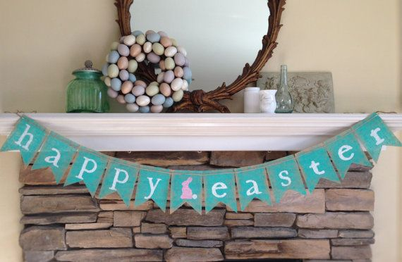 happy easter burlap banner easter decor by BurlapandTwineCo