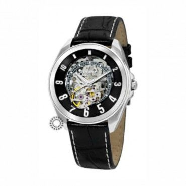 Ανδρικό αυτόματο ρολόι FESTINA με open-front καντράν και μαύρο δερμάτινο λουρί. Εγγύηση 2 ετών της επίσημης αντιπροσωπείας. F6744-3 #Festina #openfront #μαυρο #δερμα #ρολοι