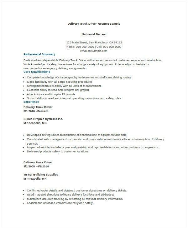 7 Truck Driver Resume Templates Pdf Doc Free Premium Resume Pdf Resume Job Resume Samples