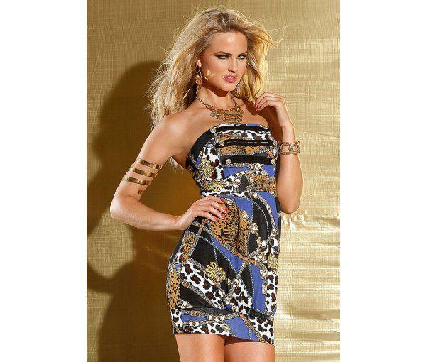 rochie scurta cu print chic, are bretelele detasabile.