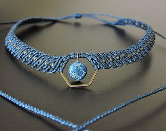 MARLENE. Flower macrame necklace Macrame Jewelry by MArsCRAME