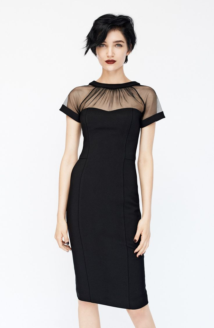Maggy London Illusion Yoke Crepe Sheath Dress (Regular & Petite) from  Nordstroms. Black with short crepe see through sleeve and neckline dress.
