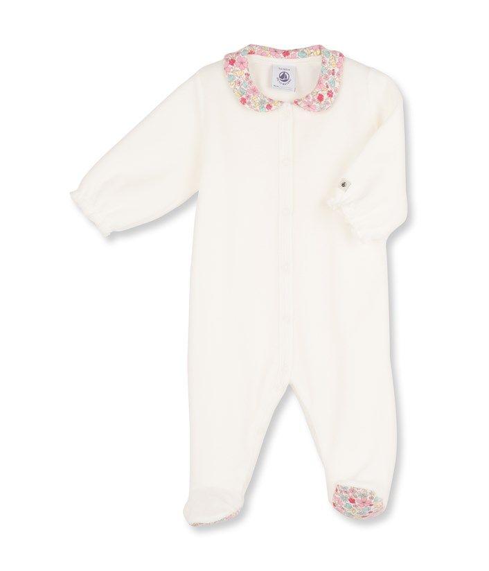 Dors bien bébé fille en velours uni blanc Lait - Petit Bateau