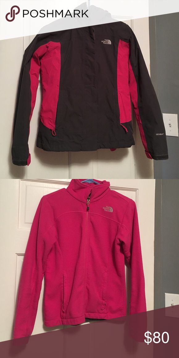 North Face Ski Jacket Cozy charcoal grey and hot pink coat! Includes hot pink fleece. Looks great on and off the slopes. Perfect for any ski weather I have faced in Colorado. North Face Jackets & Coats