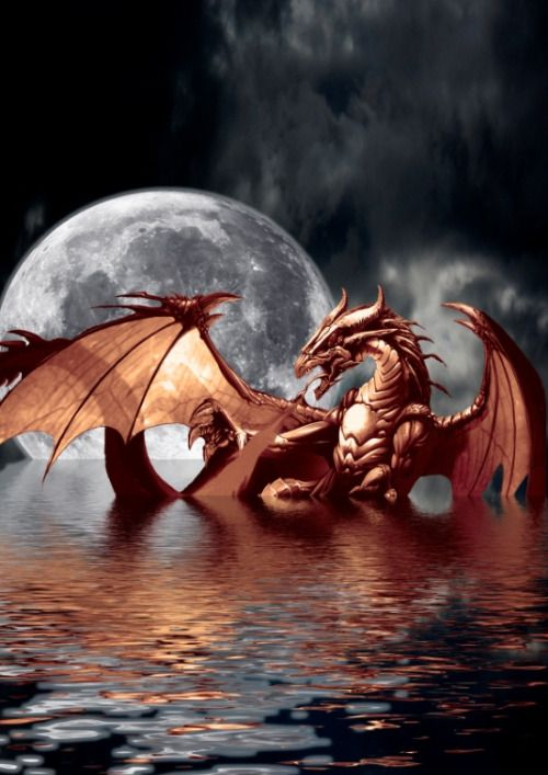 """""""Mystical Dragon and Moon Fantasy"""" by OnlineGifts"""