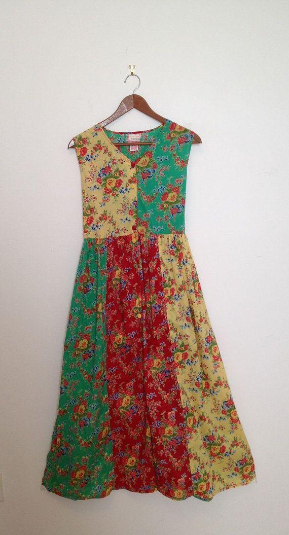 Vintage Floral Color Blocked Cotton Sun Dress//Casual by polomocha, $20.00