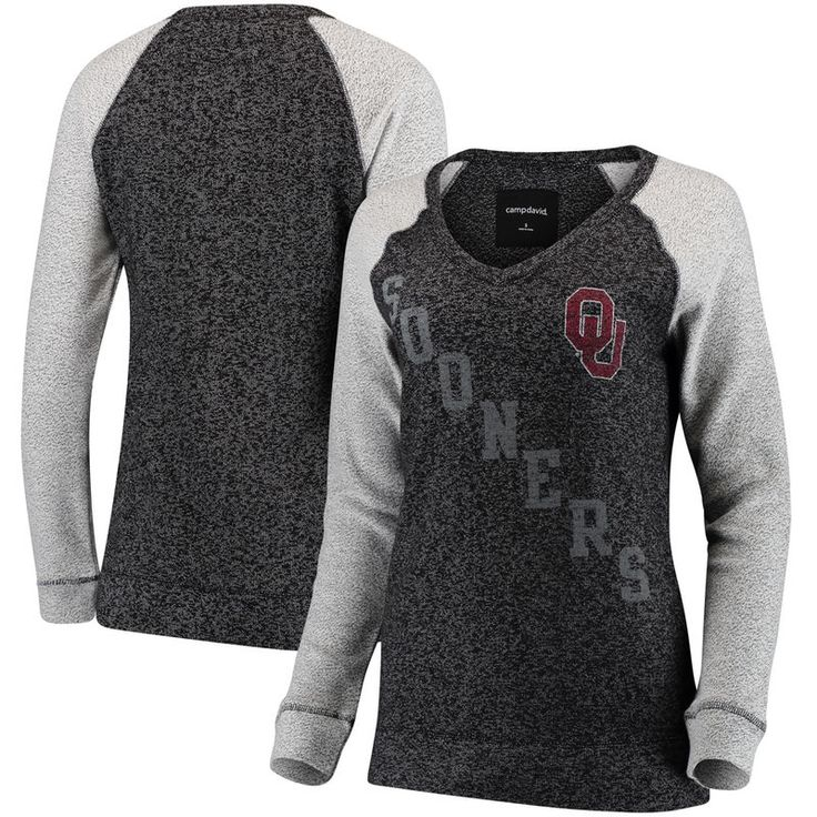 Oklahoma Sooners Women's Weekender Knit V-Neck Sweatshirt - Heather Black