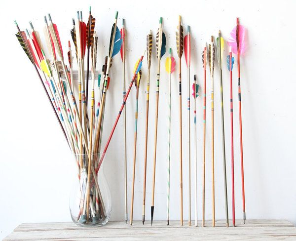 Arrows make a colorful bouquet when displayed in a vase or grouped in a straight line leaning against a wall. From the Etsy shop of Gallivanting Girls.