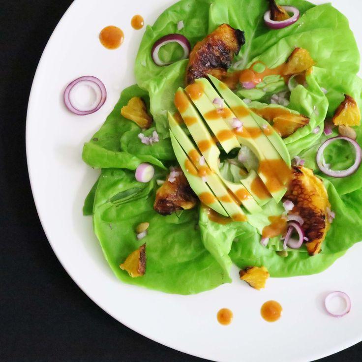 Bibb Lettuce Salad with Orange & Cumin Dressing. Part of my Chili Night menu, a plant-based menu with omni-friendly options. Thi