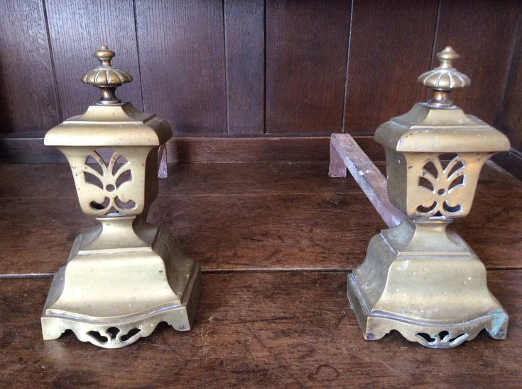 Vintage French brass and metal firedogs fireplace coal log fire support decor circa 1920-30's Purchase in store here http://www.europeanvintageemporium.com/product/vintage-french-brass-and-metal-firedogs-fireplace-coal-log-fire-support-decor-circa-1920-30s/