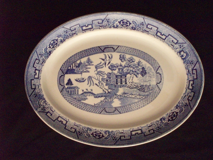 Vintage Homer Laughlin Blue Willow Platter 15.75 x 11.5 free shipping $88