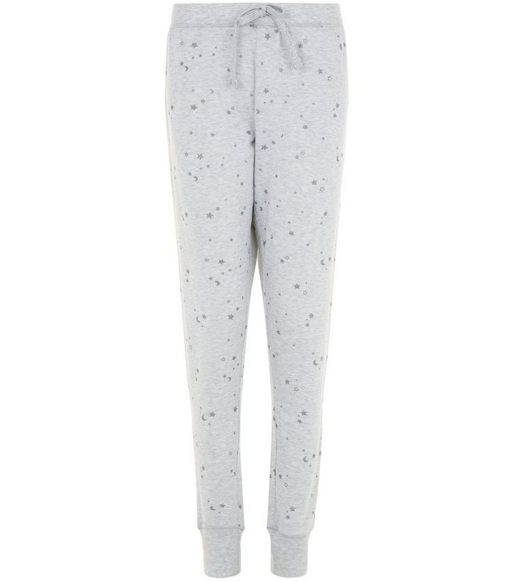 Pale Grey Metallic Star Print Pyjama Joggers | New Look
