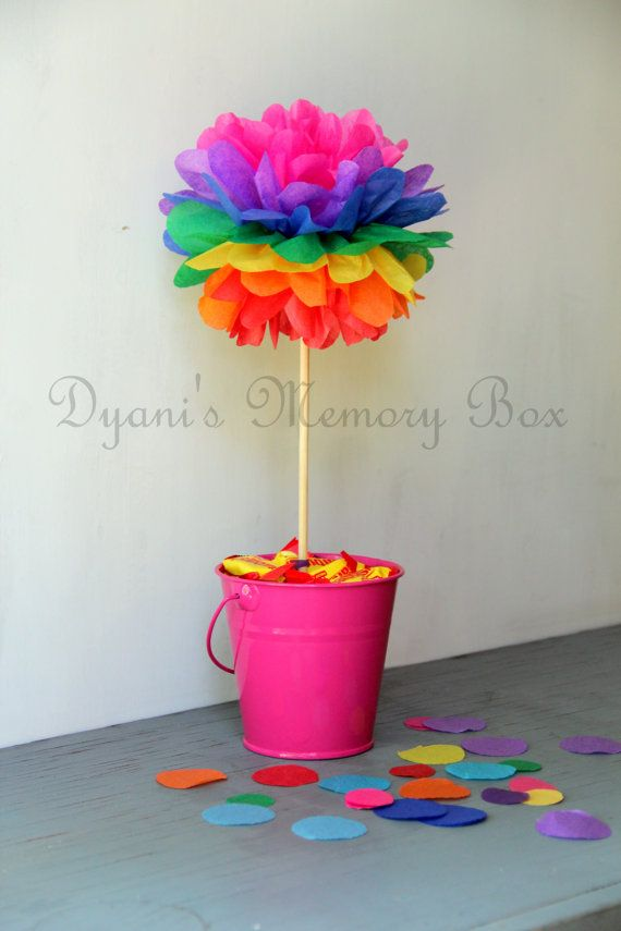Rainbow Tissue Paper Pom Poms with Wood Dowel by DyanisMemoryBox, $3.00