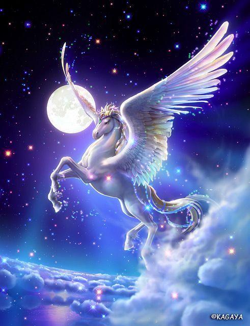 Pegasus, full moon  starry night