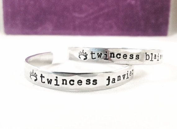 TWINCESS twins baby name bracelet princess by AtEaseDesigns2, $40.00