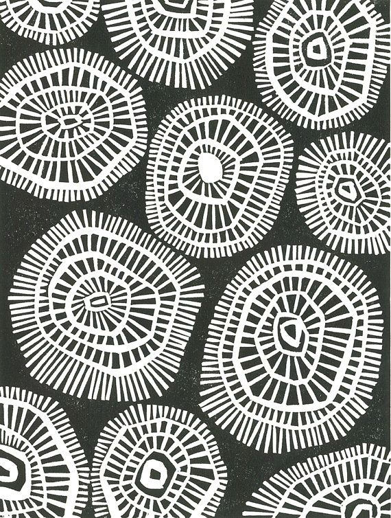 Linoleum Block Print - Black & White Abstract Modern Print - BLOWING SKIRT…
