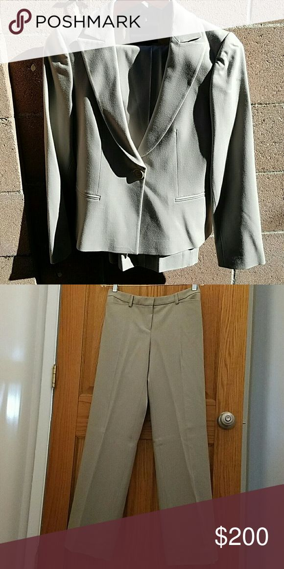 Must go!!💼Emporio Armani Business Suit Great professional suit great for the office Authentic taupe color womens suit in Great condition.  I purchased for over $800 at an Armani outlet in 2007 I no longer work at an office and is just taking up space in my closet.  Sold only as a bundle with blazer/pants No trades  Get this suit for your interview!!  Amazing deal!! Emporio Armani Jackets & Coats Blazers