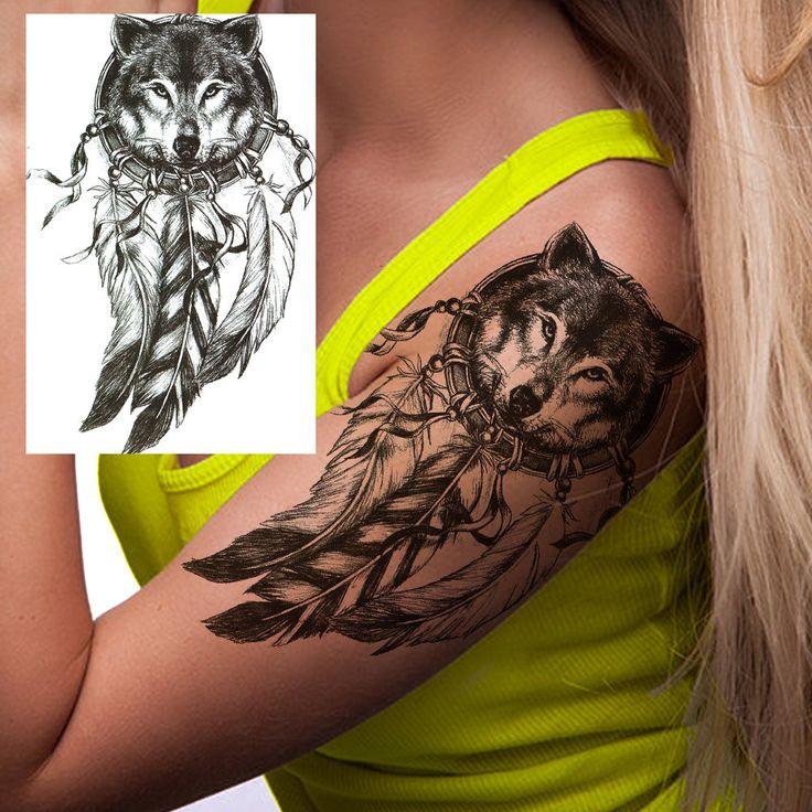 Wolf Dream Catcher temporary tattoo, temporary tattoo, realistic tattoo, fake tattoo, flash tattoo, metallic tattoo, stocking stuffer by FlashTattoosLA on Etsy