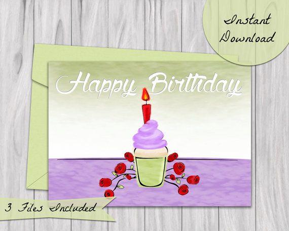 Happy Birthday Cupcake card.