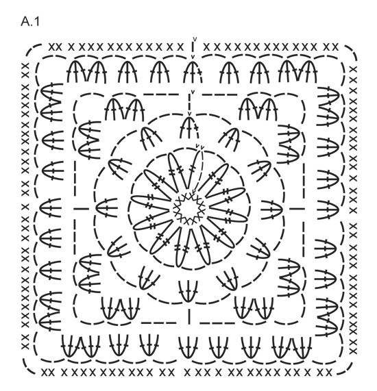 "Log Cabin - Manta DROPS em croché, em ""Big Delight"" com orlas em ""Big Merino"". - Free pattern by DROPS Design"