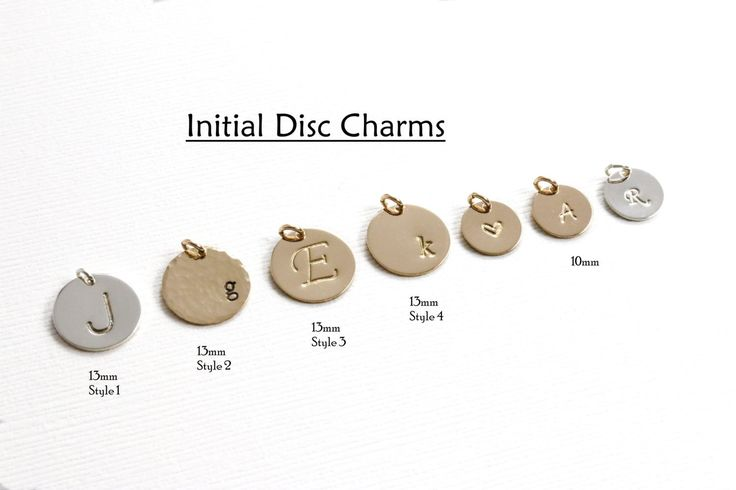 Initial Charms, Bracelet Charms, Necklace Charms, Disc Charms, Personalized Charms, Small Circle Tags, Gold Coins, Silver Charm for Bracelet