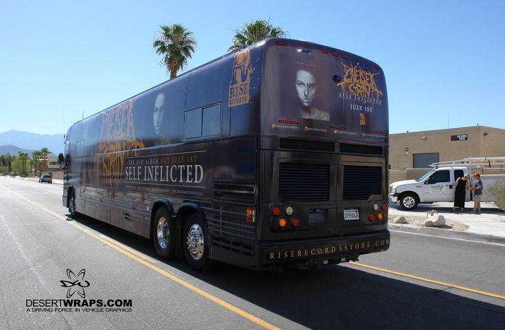 DesertWraps.com finished a full tour bus wrap for Chelsea Grin last week. This wrap is done with temporary vinyl, so we can remove it when the tour is over. Call us to find out the difference between temporary vinyl and semi-permanent! Visit DesertWraps.com or call 760-935-3600 for your own vehicle wrap. #TourBus #VehicleWrap #Vinyl