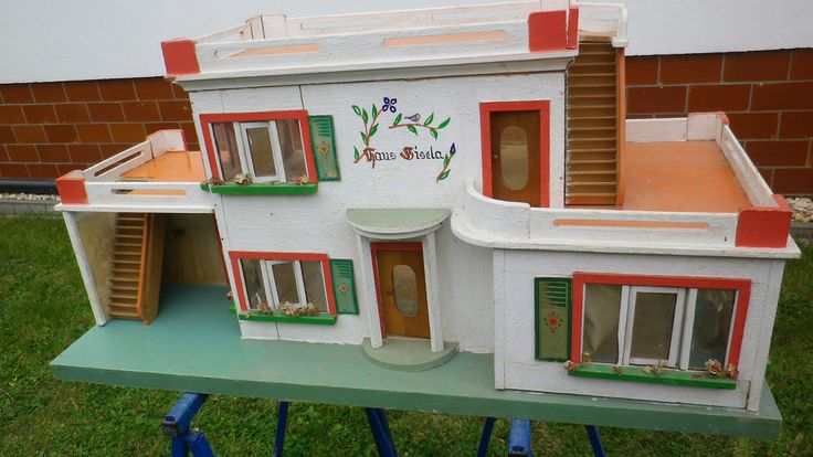 puppenhaus 39 39 haus gisela albin sch nherr mit m bel zubeh r 50er jahre doll houses pinterest. Black Bedroom Furniture Sets. Home Design Ideas
