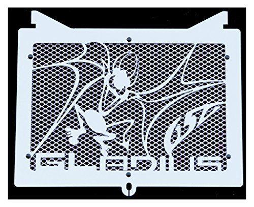 cache radiateur / grille de radiateur inox poli Suzuki 650 SVS Gladius 2009>2015 design «Vampire» + grillage anti gravillon blanc:…