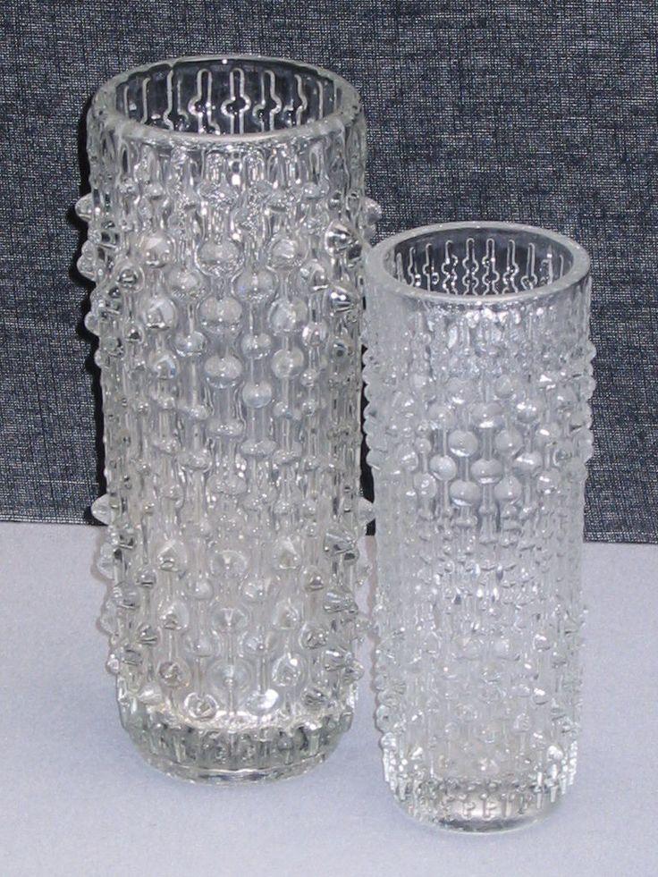FRANTISEK PECENY , Hermanova Hut ,2 klare Pressglas - Vasen,  60er Jahre de.picclick.com