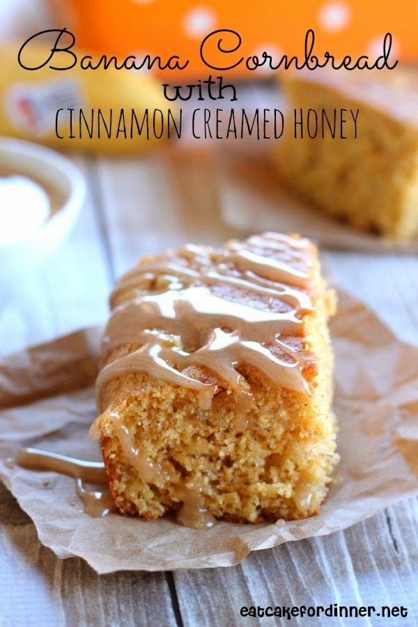 Banana Cornbread with Cinnamon Creamed Honey