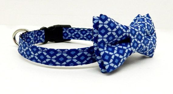 Dog Bow Tie and Collar Set  Blue and White Diamond by PacificPooch