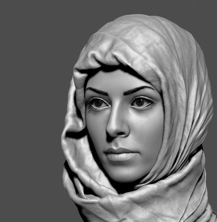 Hijab #2, Eugene Fokin on ArtStation at http://www.artstation.com/artwork/hijab-2