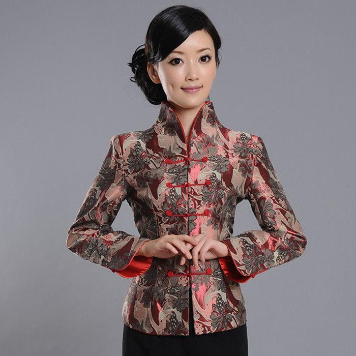 Superior Claret Brocade Open Neck Jacket - Chinese Jackets & Coats - Women