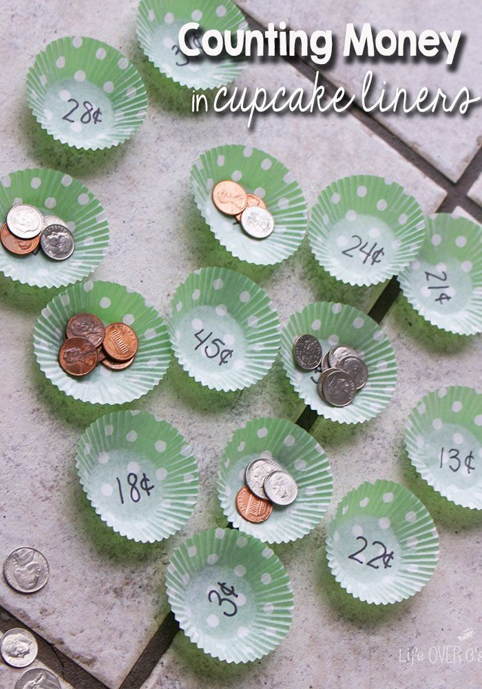 Math with Cupcake Liners: Counting Money Game