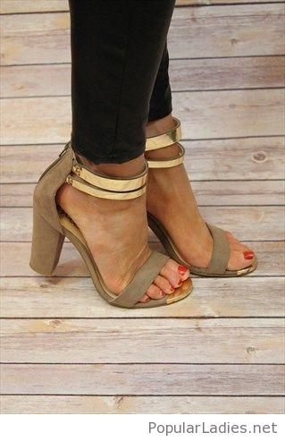Olive sandals with gold details