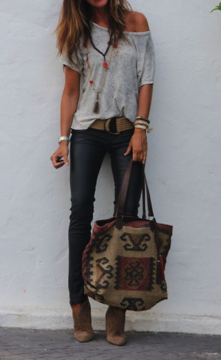 **** Stitch Fix Spring Summer 2017 inspiration!  Loving the adorable boho vibe of this outfit with grey off the shoulder top, chunky accessories and skinny jean! Boho chic.  Such a great look!!  Try Stitch Fix today to receive styles just like these.  Simply click the picture, fill out your style profile and start customizing your wardrobe today!! Who doesn't want hand picked styles delivered right to their door?! #StitchFix #sponsored