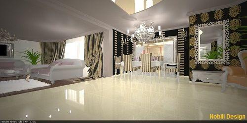 Interior living clasic casa Bucuresti.Amenajari interioare case,vile si apartamente Nobili Design.